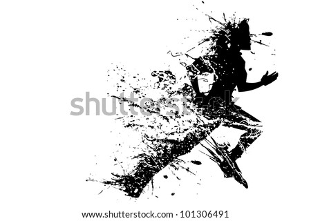 illustration of splashy runner silhouette on white background - stock vector