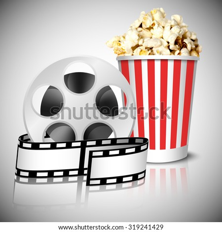Illustration of spool with film tape and delicious realistic cinema theater popcorn can, with reflection, on grey background. Vector illustration. - stock vector