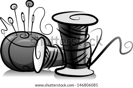 Illustration of Spools of Thread and Pin Cushion in Black and White - stock vector