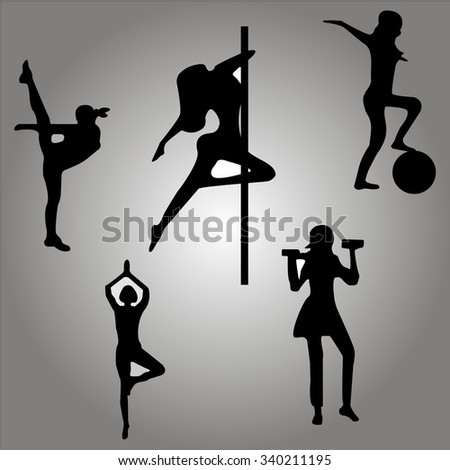 illustration of sport and dance girls