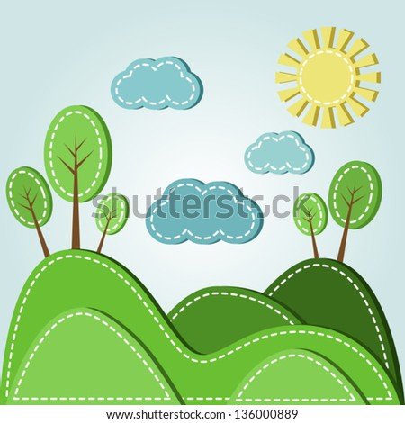 Illustration of spring hilly landscape with clouds, dashed style - stock vector