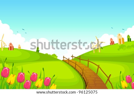 illustration of spring landscape with flowers and huts - stock vector