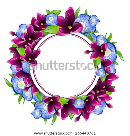 Illustration of Spring Wet Lilac and Forget-me-not Flower Round Frame, Copyspace - stock vector