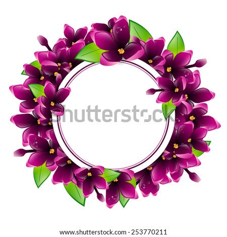 Illustration of Spring Wet Lilac Flower Round Frame, Copyspace - stock vector