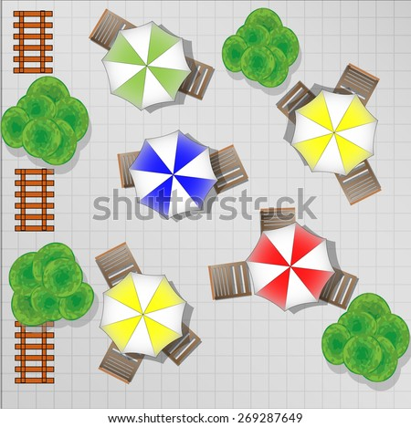 Illustration of square with chairs and parasols from above - stock vector