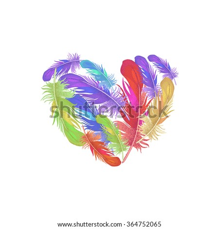 Illustration of St. Valentine's Day. Valentine heart. Vector design Valentine's Day. Template of colored feathers in the shape of a heart for Valentine's Day. Heartfelt message of Valentine's Day. - stock vector