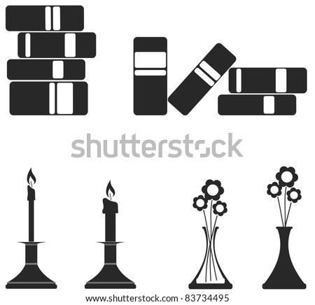 Illustration of stacked books, candles and flowers in vases.  Icon style can be used for symbols - stock vector