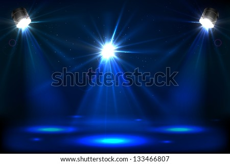 Illustration of stage for performance with spot light