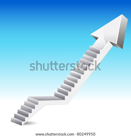 illustration of stair in shape of upward arrow on abstract background - stock vector