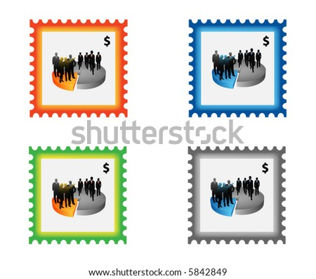Illustration of stamp with business people - stock vector