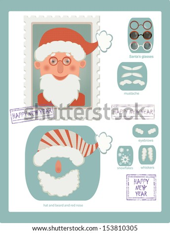 illustration of stamp with Santa and many details for changing his image - stock vector
