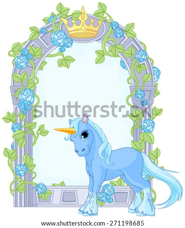 Illustration of standing beautiful cute unicorn close to flower frame - stock vector