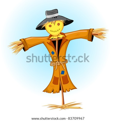 illustration of standing scarecrow on abstract background