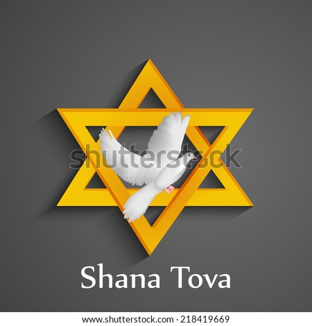 Illustration of Star with Pigeon for Jewish new year holiday Rosh Hashanah  - stock vector