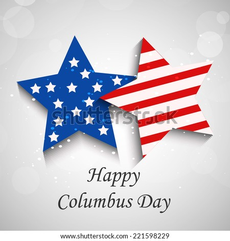 Illustration of Stars with U.S.A Flag for Columbus Day - stock vector