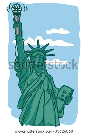 Illustration of Statue of Liberty holding microphone instead of torch against blue sky with clouds - stock vector