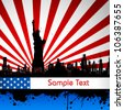 illustration of Statue of Liberty on American flag backdrop - stock photo