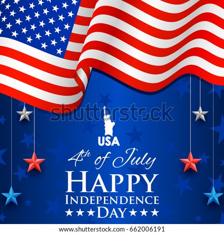 illustration of Statue of Liberty on American flag for 4th of July Independence Day of America background