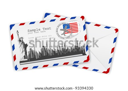 illustration of Statue of Liberty on envelope with American stamp - stock vector