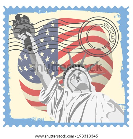 Illustration of Statue of Liberty stamp design - stock vector