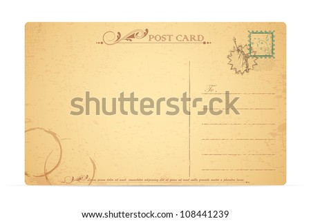 illustration of Statue of Liberty stamp in travel postcard - stock vector