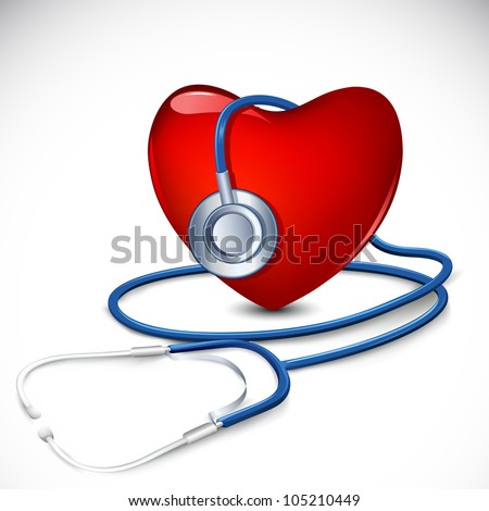 illustration of stethoscope around heart on abstract background - stock vector