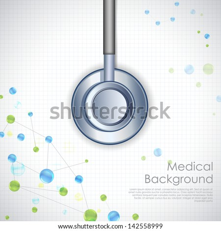 illustration of stethoscope on medical background - stock vector