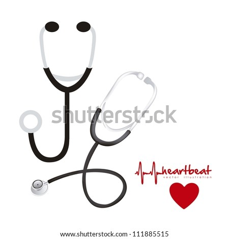 illustration of stethoscopes, in silhouette and 3d, vector illustration - stock vector