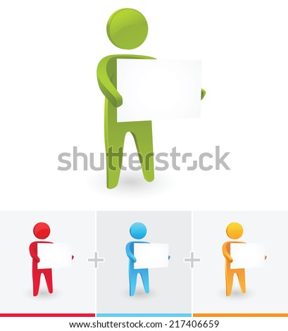 Illustration of stick figure promoting business with white board - stock vector