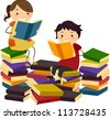 Illustration of Stick Kids Reading Books from Piles of Reading Materials - stock photo