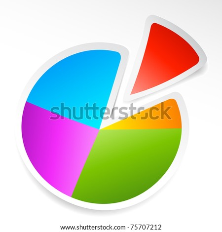 illustration of sticker of pie chart on abstract background - stock vector