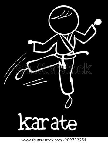 Illustration of stickman doing karate - stock vector