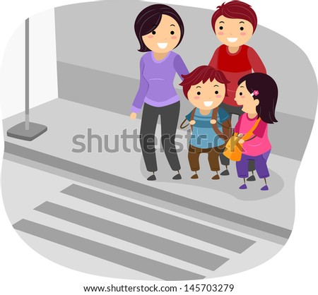 Illustration of Stickman Family Crossing a Street