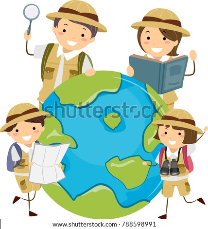 Illustration Of Stickman Family Explorer Around A Globe