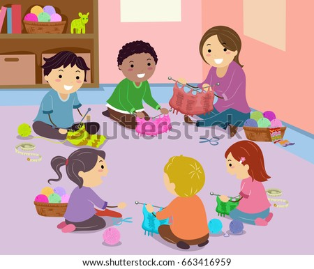 Schulklasse im unterricht clipart  Children Sit Circle On Round Carpet Stock-vektorgrafik 556610284 ...