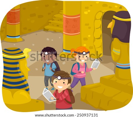 Illustration of Stickman Kids Exploring the Interior of a Pyramid - stock vector