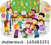 Illustration of Stickman Kids Having a Birthday Party at School - stock vector