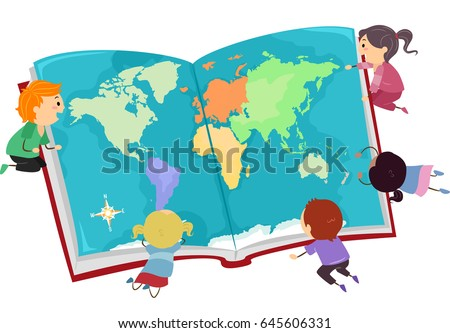 Illustration stickman kids looking big world vectores en stock illustration of stickman kids looking at a big world map on an opened book gumiabroncs Image collections