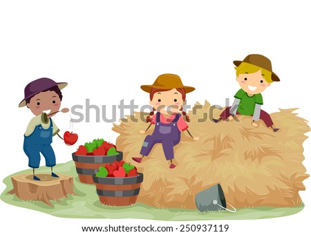 Illustration of Stickman Kids Playing With Hay and Apples - stock vector