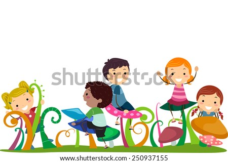 Illustration of Stickman Kids Playing With Mushrooms - stock vector