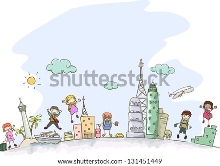 Illustration of Stickman Kids traveling with some scenes from different parts of the world - stock vector