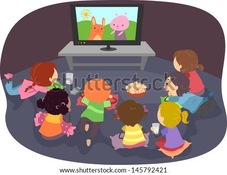 Illustration of Stickman Kids Watching Cartoons - stock vector