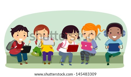 Illustration of Stickman Kids with Tablet Computers at School - stock vector