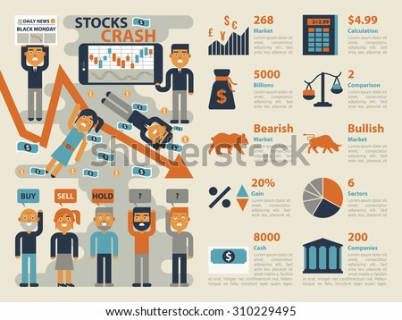 Illustration of stocks market crash infographic elements and icons - stock vector