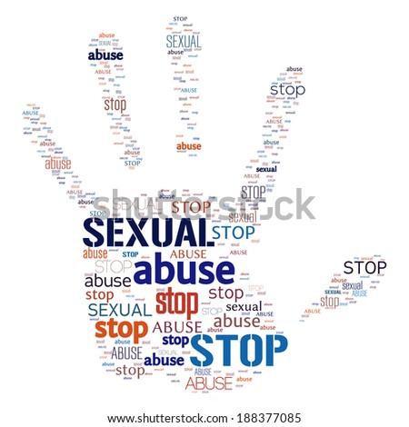 Illustration of stop sexual abuse warning - stock vector