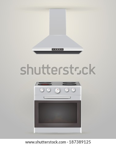 Illustration of stove and extractor. Gray stove with four burners and gray extractor.  - stock vector