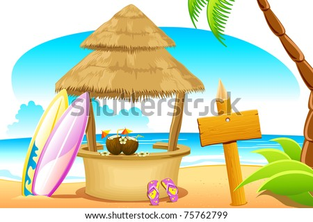 illustration of straw hut and surfing board in beach - stock vector