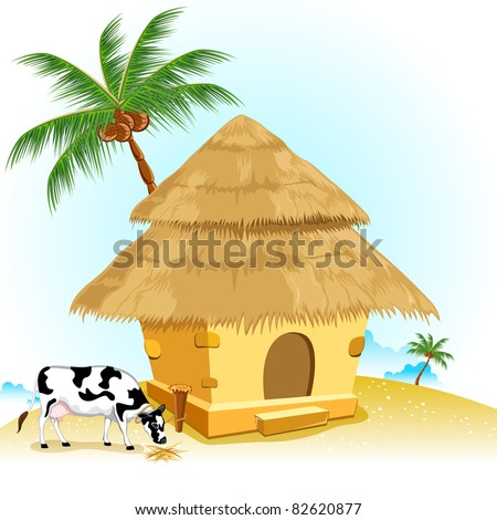illustration of straw hut with coconut tree and cow - stock vector
