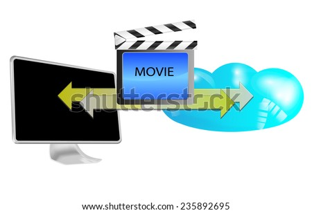 Illustration of streaming movie in cloud isolated on white background - stock vector