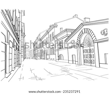 illustration of street in St. Petersburg. vector illustration